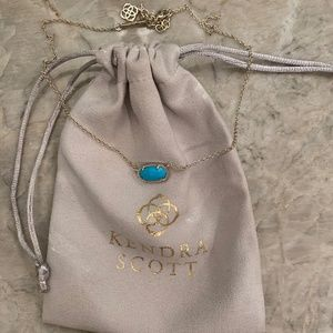 Kendra Scott Teal Necklace with Gold Chain